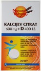 Natural Wealth Kalcijev citrat 600 mg + D 400 i.e. - okus limone, 20 šumečih tablet