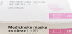 Prima medicinska maska troslojna, tip IIR  - roza, 20 mask