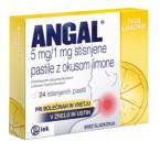Angal 5 mg/1 mg, stisnjene pastile z okusom limone, 24 pastil