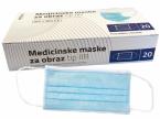 Prima medicinska maska troslojna, tip IIR  - modra, 20 mask