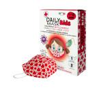 Daily Mask Kids, 7-12 let, bombažna otroška maska s 3 filtri - rdeča