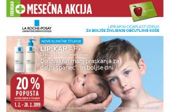 La Roche-Posay Lipikar in Cicaplast 20 % ugodneje v mesecu februarju