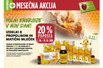 Izdelki s propolisom in Matični mleček 20 % ugodneje v mesecu oktobru