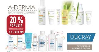 A-Derma in Ducray 20 % ugodneje v mesecu novembru