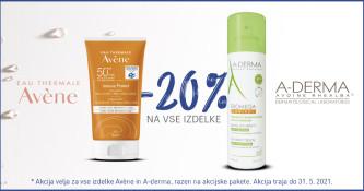 Avene in A-Derma 20 % ugodneje