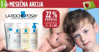 La Roche-Posay Lipikar in Cicaplast  22 % ugodneje v januarju