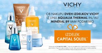 Ob nakupu dveh izdelkov Vichy Aqualia Thermal ali Mineral 89 prejmete gratis Capital Soleil