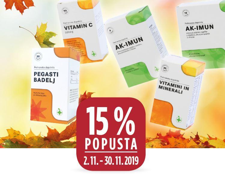 15 % za prehranska dopolnila Lekarne Ljubljana