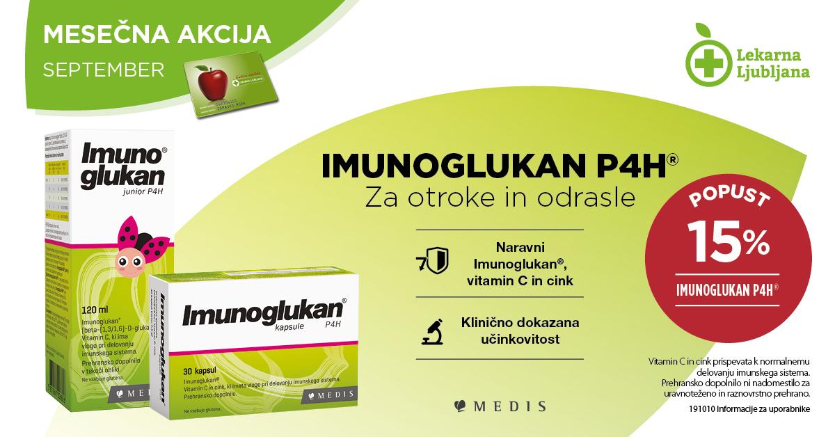 Imunoglukan P4H za otroke in odrasle 15 % ugodneje v mesecu septembr